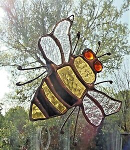 HAND-CRAFTED-REAL-STAINED-GLASS-MANCHESTER-BEE-SUN-CATCHER-12-cm-Approx