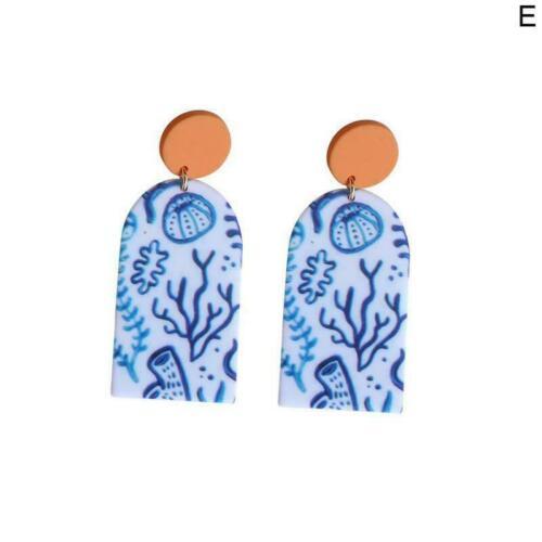 Frauen Vergossen Algen Malerei Ohrring Kunst Design Schmuck Nette Streifen Q8X5