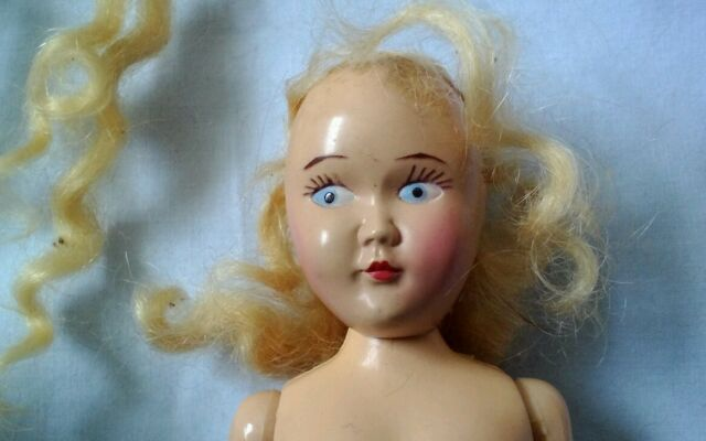 Doll Hard plastic Blond Painted eyes  7 in Restoration painted Black  shoes