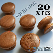 20 x wooden oak kitchen door knobs handles cabinet cupboard 40 mm diameter