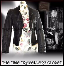 Topshop Kate Moss Rare Black Leather Biker Jacket Woven Blanket Stitch UK 10 12