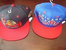 CHICAGO CUBS BLACKHAWKS LOT 2- HATS LOGO  SCRIPT VINTAGE 90'S HAT CAP  SNAPBACK