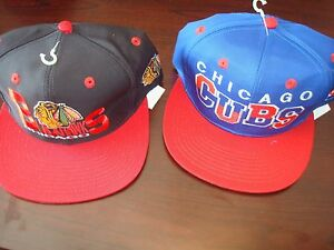 f7b83fe4 CHICAGO CUBS BLACKHAWKS LOT 2- HATS LOGO SCRIPT VINTAGE 90'S HAT CAP ...