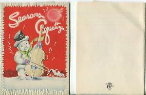 VINTAGE CHRISTMAS SNOWMAN PLAYING CELLO SNOW EMBOSSED POP UP MCM GREETING CARD