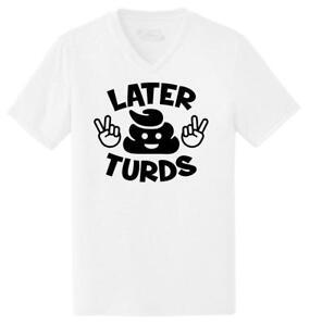 Details about Mens Later Turds Funny Poop Humor Peace Shirt Triblend V-Neck  Emoji