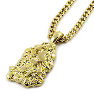 2f3e7cb55711f Details about Mens 14K Gold Plated Nugget Pendant Hip-Hop 3mm/30