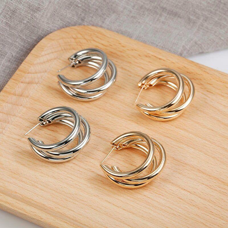 Vintage Hoop Earrings For Women Gold Color Geometric Statement Earring 2019