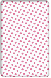 BABY FITTED COT BED SHEET PRINTED100/%COTTON MATTRESS140x70cm White Stars on Grey