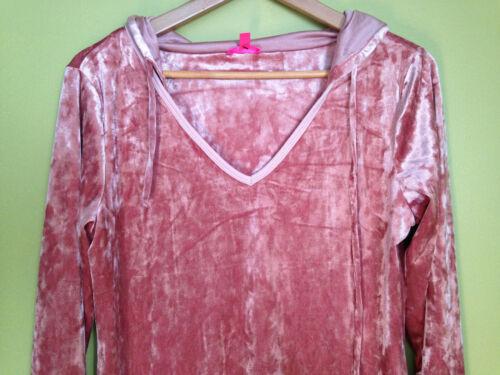Johnson Nwt Hooded 89 Sexy Sleep rosa silkrose Sleep Velour Shirt S Betsey 55Ur7xT