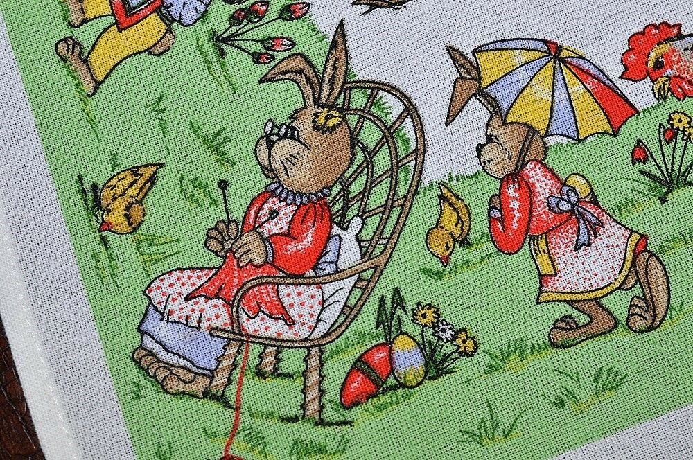 IT TAKES AN EASTER BUNNY VILLAGE & ROOSTER TOO  VINTAGE GERMAN PRINT TABLECLOTH