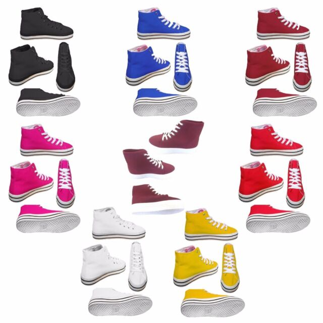 Herren Damen Unisex Canvas Hi High Top Schnür Sneaker Turnschuhe Schuhe UK 3 8