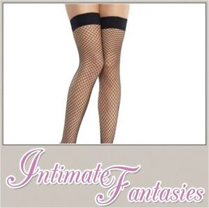 901904267a Sexy Black Fishnet Stockings Stay Up Hold Ups Size M 8 10 12 14 16 ...