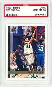 TIM-DUNCAN-Rookie-Card-1997-Topps-115-Perfect-PSA-10-Grade-RC-SPURS