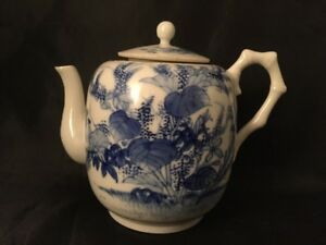 Vintage-Antique-Chinese-Japanese-Oriental-Teapot-Blue-And-White-Bamboo-Handel-De