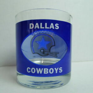 Dallas-Cowboys-Highball-Glass-1970-039-s-Vintage-Helmet-Window-Art-Glass