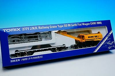 Tomix N Scale 2771 Railway Crane Type SO80 with Flat Wagon CHIKI 7000