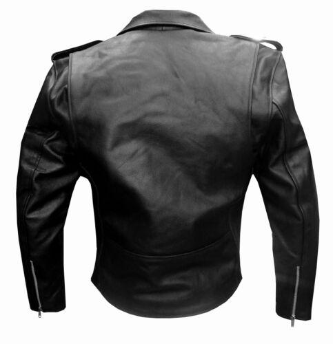 NEW MENS REAL LEATHER JACKET BLACK BIKER MOTORCYCLE STYLE GENUINE COAT UK 38-54