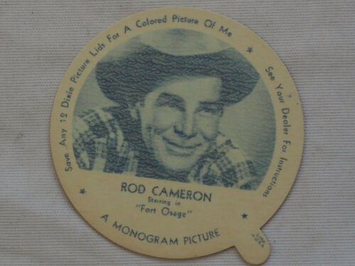 1952 DIXIE CUP NELSON'S Ice Cream ROD CAMERON TV Movie Star NM