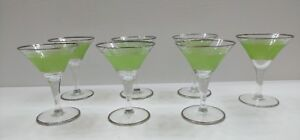 Set-of-7-Cordial-Liquior-Glasses-Green-and-Clear-Cocktail-Glasses-w-Silver-Rim