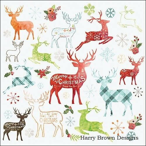 Serviettes Decoupage Weddings 2 Paper Napkins Parties Christmas Deer