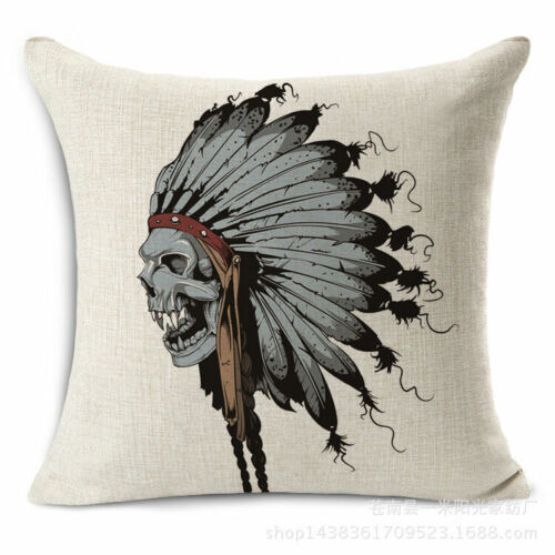 18/'/' Cotton Linen Vintage Skull Cushion Cover Throw Waist Pillow Case Home Decor