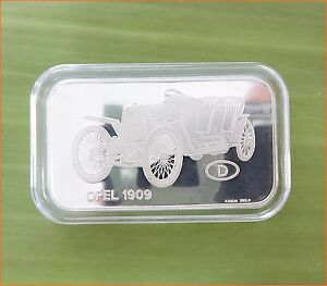 RARE-1-oz-999-Switzerland-Silver-Bar-034-OPEL-1909-ANTIQUE-CAR-COLLECTION-034-C73