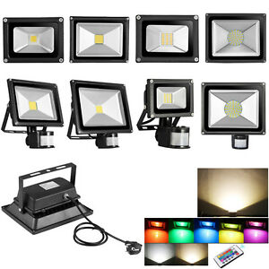 led fluter 10w 20w 30w 50w 100w smd rgb stecker bewegungsmelder flutlicht lampe ebay. Black Bedroom Furniture Sets. Home Design Ideas