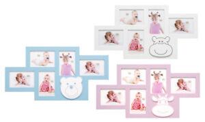 dd5ffd1833b17e Das Bild wird geladen Baby-Bilderrahmen-Galerie-in-Weiss-Rosa-Blau-fuer-