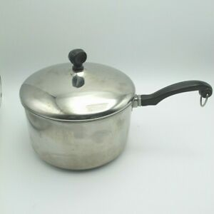 Vintage Farberware 3 QT Sauce Pan Pot Stainless Steel Aluminum Clad with Lid USA