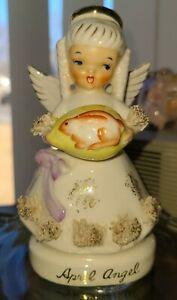 VINTAGE NAPCO FABULOUS APRIL ANGEL SPAGHETTI TRIM&HOLDING EGG&RABBIT #1294