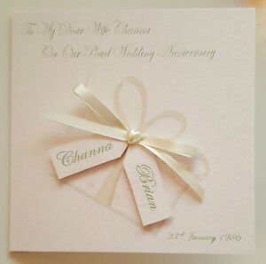 personalised 30th pearl anniversary card 1st 10th 25th 40th 50th