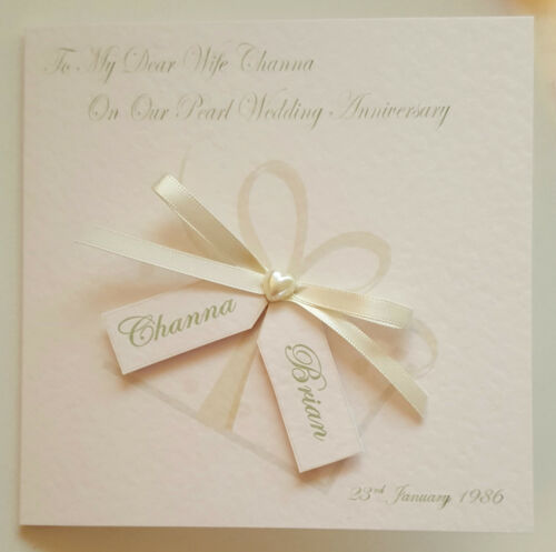 Personalised 30th Pearl Anniversary Card 1st 10th 25th 40th 50th Wife or Husband