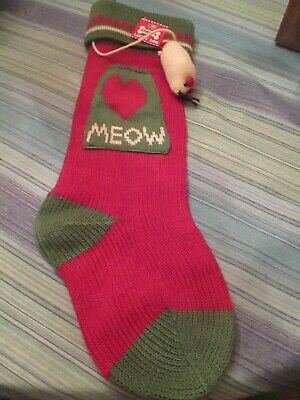 Cat /& Mouse DEI Christmas Morning Sweater Knit Stocking Meow Red /& Green NEW
