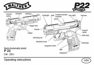 Details about Walther P22 Pistol Owners Instruction and Maintenance Manual