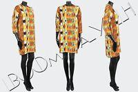 CELINE PARIS 2200$ Auth New Multi Color Viscose Crepe Shift Dress sz 36 38 42