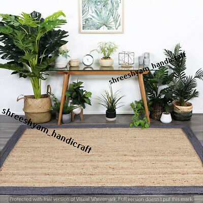 Jute Rug Home Decor Ribbed Solid
