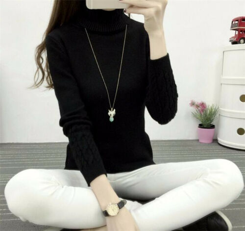 6 Color Winter Women/'s High quality Warm High Collar Turtleneck Sweater Pullover