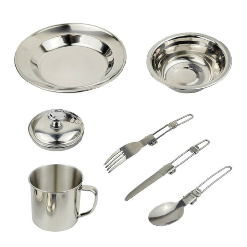 6 in 1 Outdoor Portable Tableware with Bowl Plate Cup for Camping Hiking