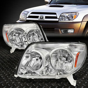 FOR 2003-2005 TOYOTA 4RUNNER PAIR CHROME HOUSING AMBER CORNER HEADLIGHT/LAMP SET