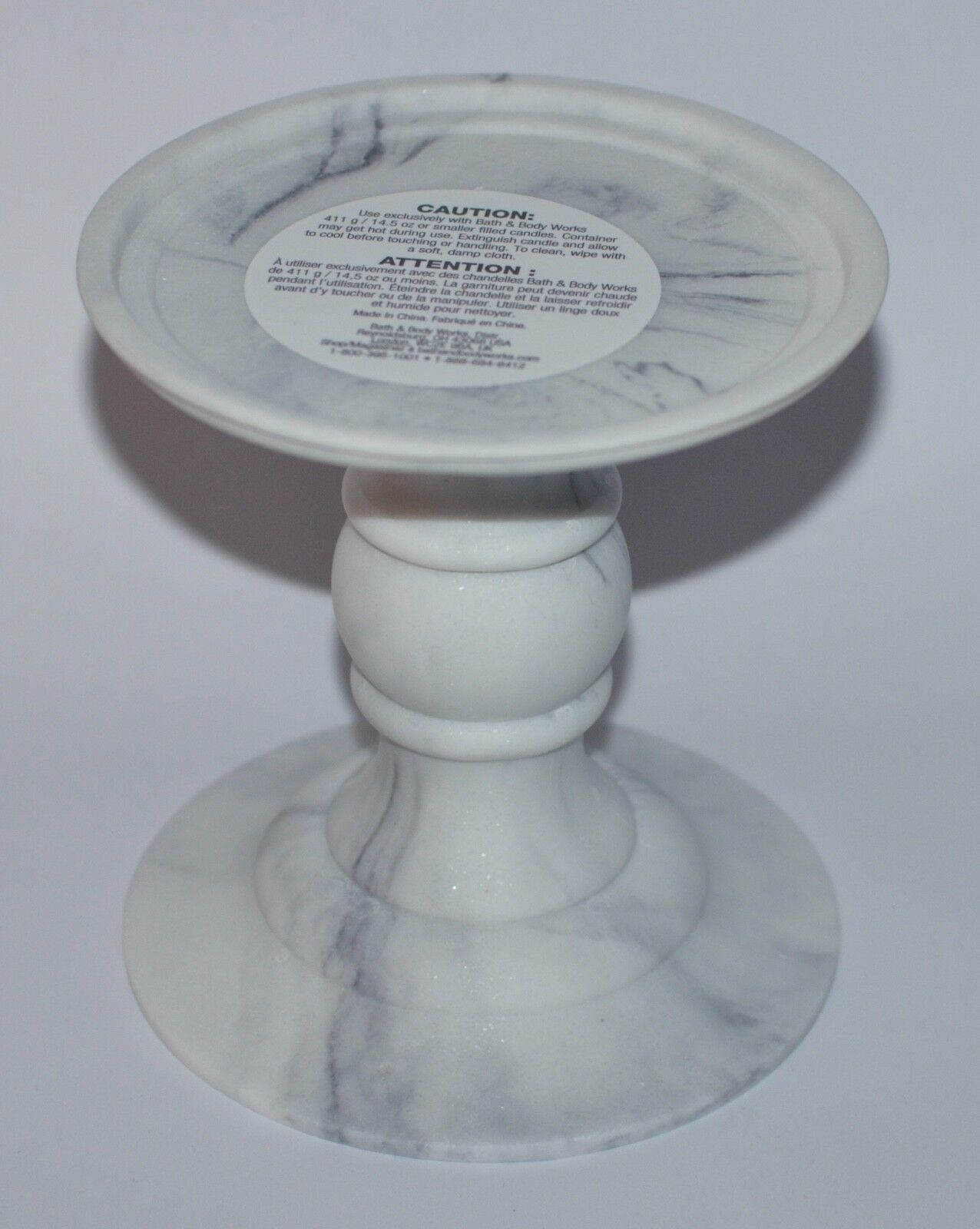 Bath & Body Works Faux Marble Pedestal 3 Wick Candle Holder 6\