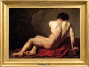 "Old Master Art Antique Portrait Male Nude Jacques Louis Oil Painting 30""x40"""
