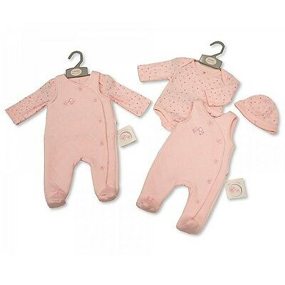 Baby Pink Traditional Outfit Dungaree Overall Bodysuit & Hat Layette Set  AW'17