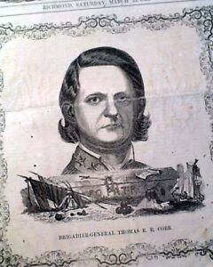 RARE-General-Cobb-CONFEDERATE-Illustrated-Civil-War-RICHMOND-VA-1863-Newspaper