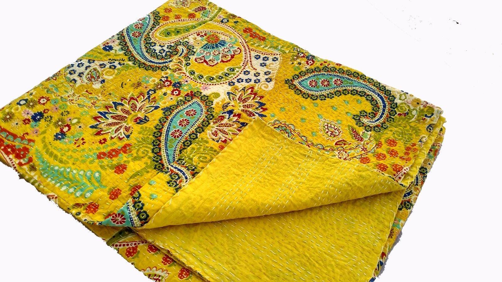 Cotton Bedcover Bedspread Vintage Kantha Quilt Gudri Reversible Throw Ralli Beds