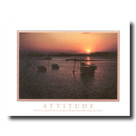 Attitude Motivational Boat Wall Picture Cherry Framed Art Print