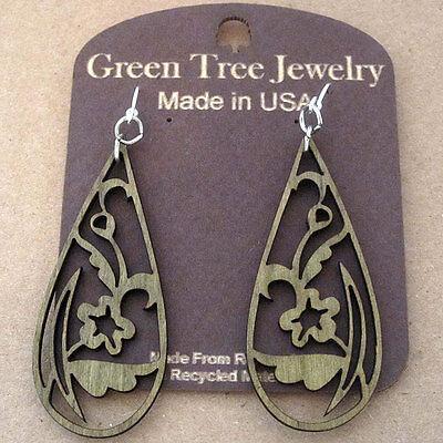 FLORAL TEAR DROP laser-cut wood earrings Green Tree Jewelry APPLE GREEN 1243