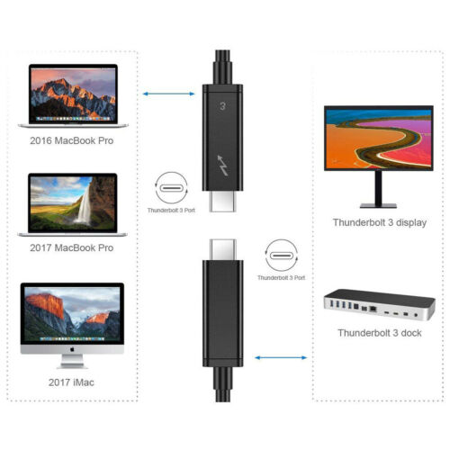 Thunderbolt 3 Cable 100W 40Gbps 5K Black 50CM Male to Male for Dell XPS MBP