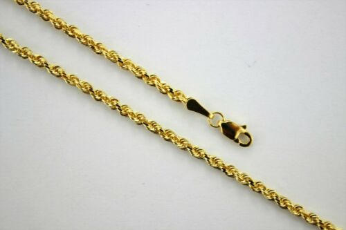 """Authentic 14K Solid Yellow Gold Rope Twist Link Chain Necklace 2.5mm x 16/"""" ~ 30/"""""""