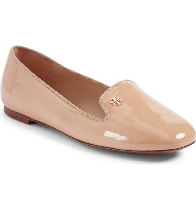 New in Box Tory Burch cuir verni Samantha Mocassin Chaussures Tory Beige 9.5 M