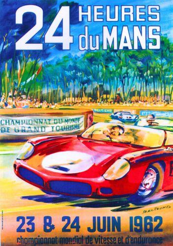 1962 24 Hours Le Mans French Automobile Race Advertisement Vintage Poster